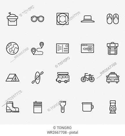 Various line icons related to vacation