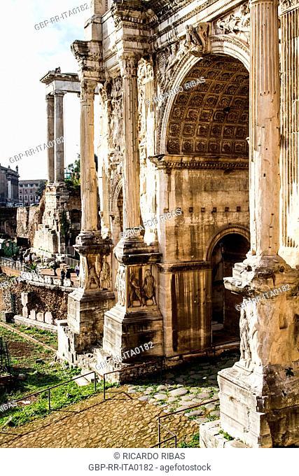 Arch of Septimius Severus (Arco di Settimio Severo) in the Roman Forum (Foro Romano). Rome, Province of Rome, Italy. 23.12.2012