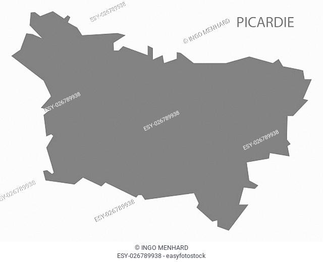 Picardie France Map grey