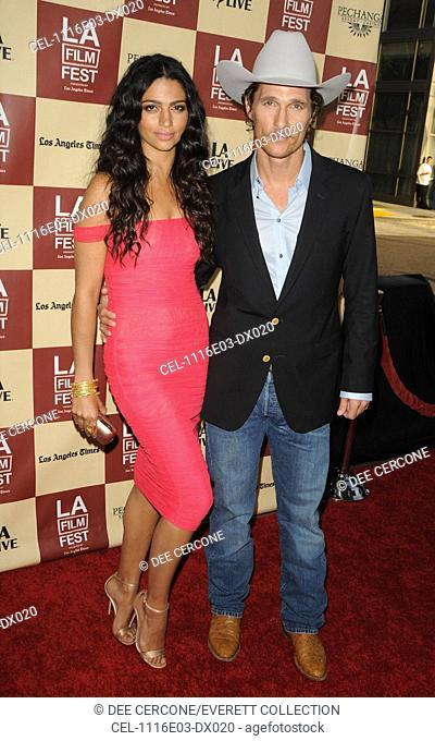 Camila Alves, Matthew McConaughey at arrivals for BERNIE Premiere, Regal Theatres at L.A. Live, Los Angeles, CA June 16, 2011