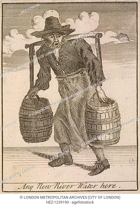 'Any New River Water here', (c1688?). A fresh water seller, carrying two barrels attached to a yoke. From Cries of London, (c1688?)