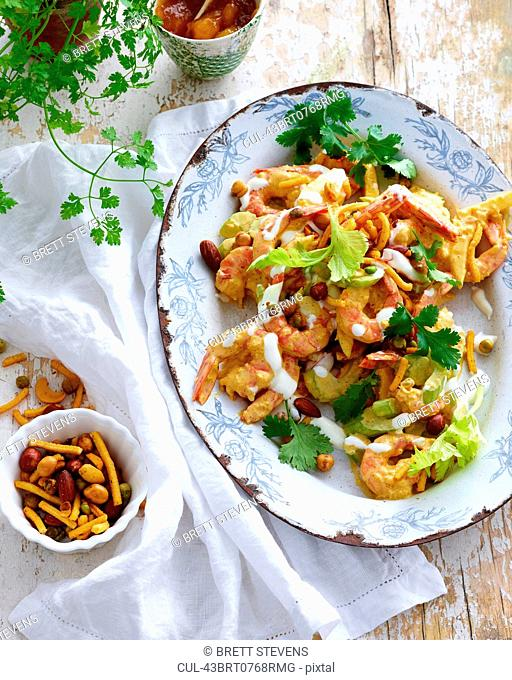Plate of prawns with salad