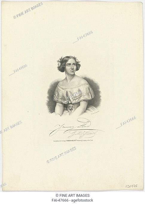 Portrait of the Soprano Jenny Lind (1820-1887) by Anonymous /Lithography/Academic art/1850s/Germany/University of Leipzig/33x24