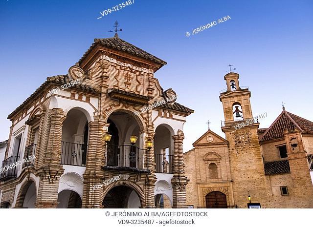 Capilla del Portichuelo Virgen del Socorro and Church Santa María de Jesus. Old town monumental city of Antequera, Malaga province