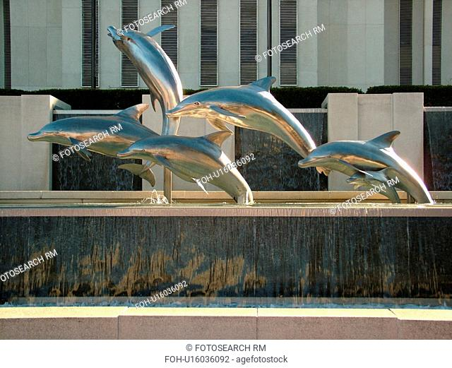 Tallahassee, FL, Florida, New State Capitol, State House, Dolphin statue and fountain on the capital grounds