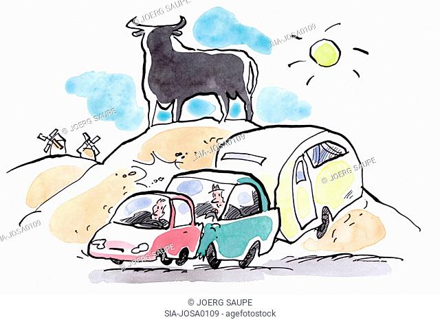 Bull on hill and cars on road
