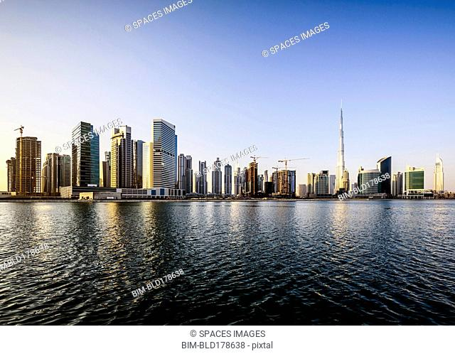 Dubai city skyline and waterfront, United Arab Emirates