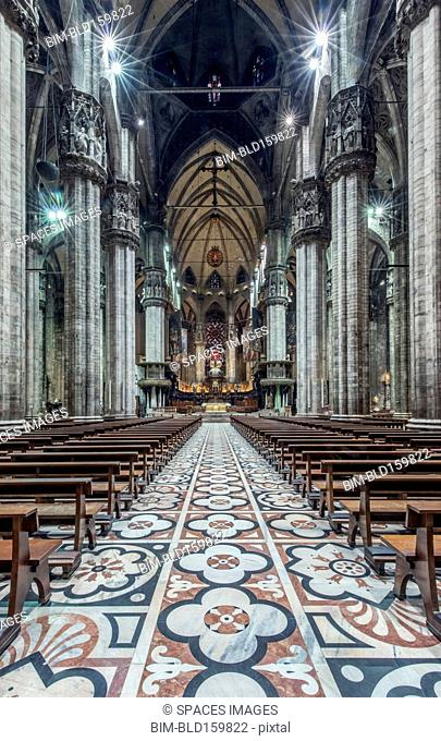 Ornate architecture and tile mosaics in Duomo di Milano, Milan, Italy