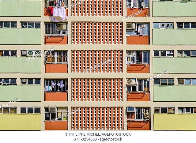 Chine, Hong Kong, Kowloon, quartier d'habitation très dense / China, Hong Kong, Kowloon island, Densely crowded apartment buildings