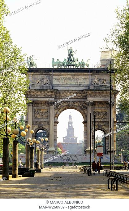 europe, italy, lombardia, milan, arco della pace