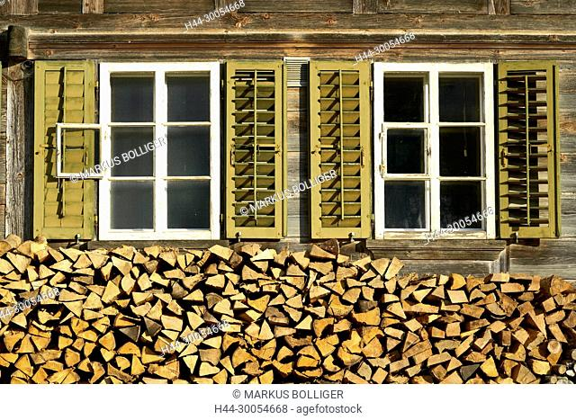 House, Emmental, timber house, farm, farmhouse, window, shutter, firewood, pile, Scheiterbeige, wooden pile, firewood pile
