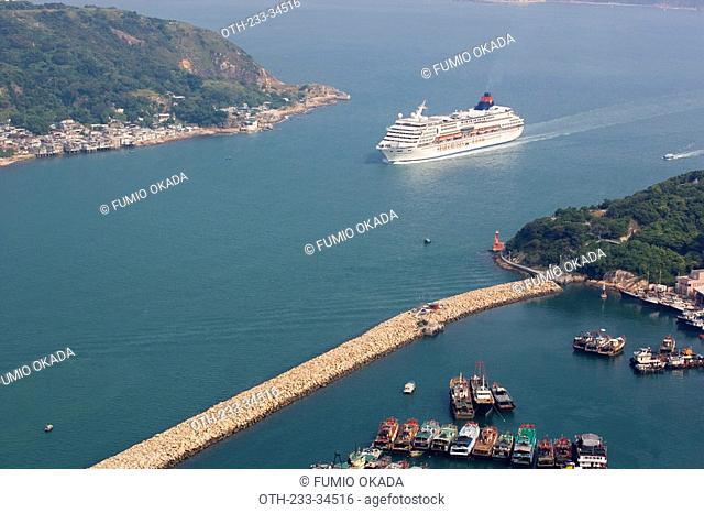 A cruiser entering into Lei Yu Mun Channel, Hong Kong
