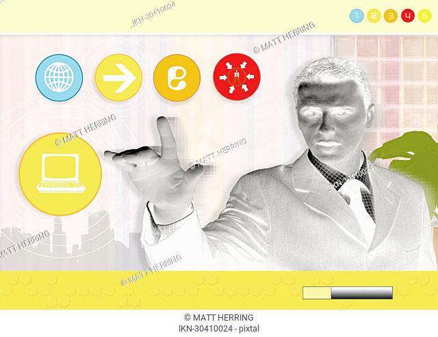 Businessman touching screen with communication images in background