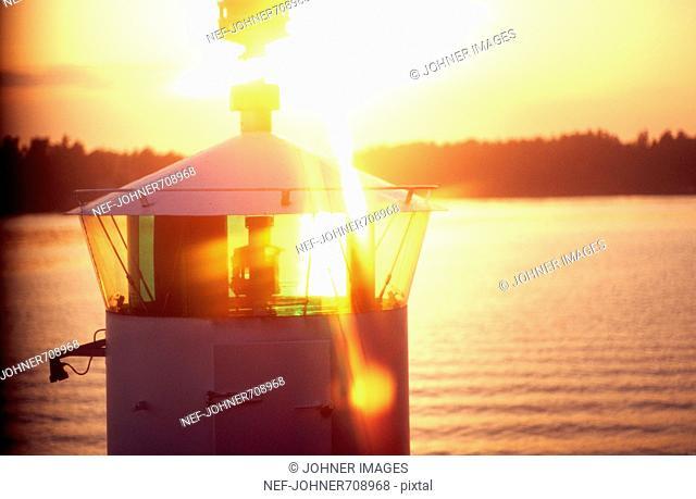 Lighthouse in sunset, Stockholm archipelago, Sweden
