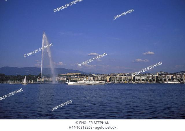 Geneva, town, city, harbor, port, jet, Jet d'Eau, fountain, ship CGN, steamboat, Lake Geneva, lake of Geneva, Lac Lema
