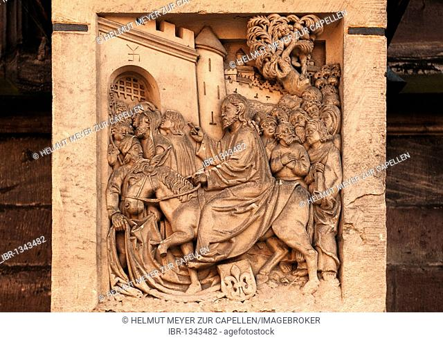 Jesus entering Jerusalem, old relief panel at the Sebalduskirche church, Albrecht-Duerer-Platz 1, Nuremberg, Middle Franconia, Bavaria, Germany Europe