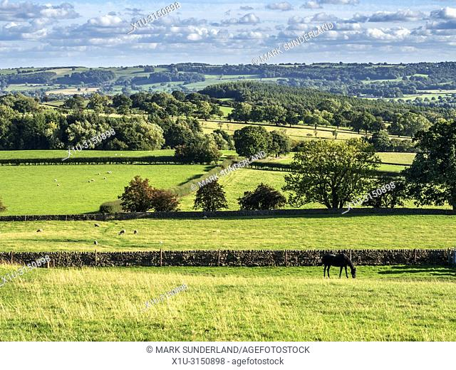 Lower Wharfedale countryside from Low Lane near Stainburn North Yorkshire England
