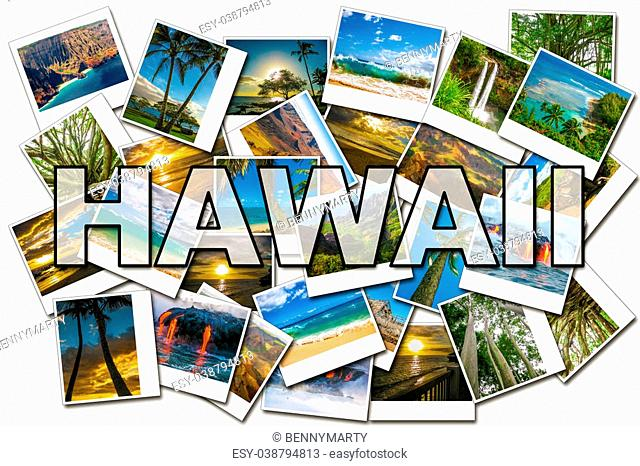 Hawaii pictures collage of different famous locations of the islands of Maui, the Big Island and Kawaii Hawaii, United States