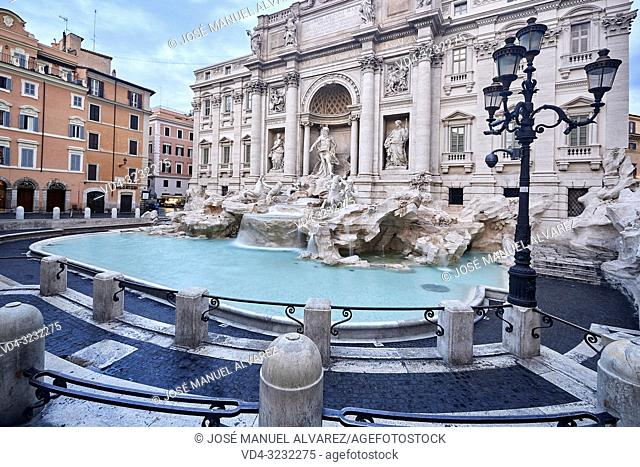 General view of Trevi fountain on a beautiful morning