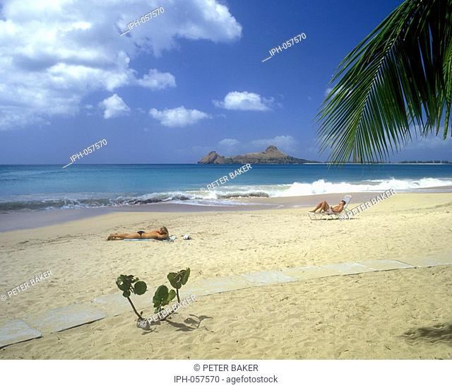 St Lucia - Tropical beach with view of Pigeon Island