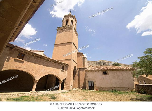 Miravete de la Sierra village in Teruel Aragon Spain. Parish church