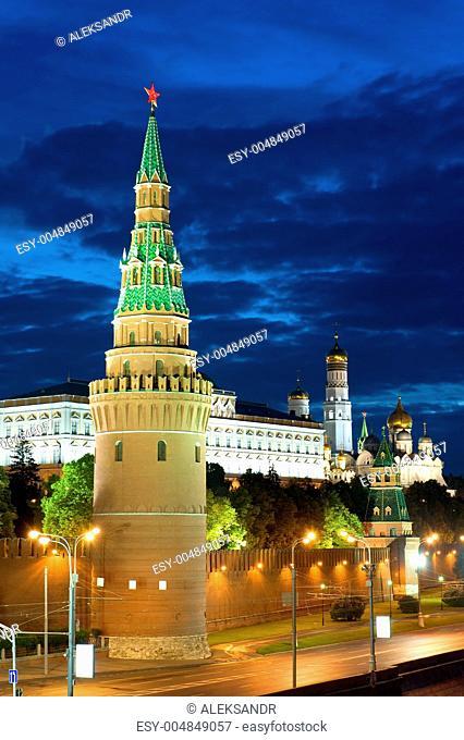 Tower Kremlin and road close up