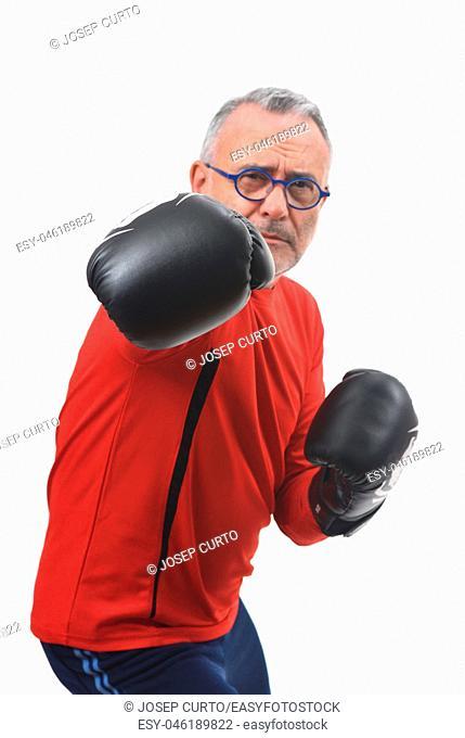 boxing man on white