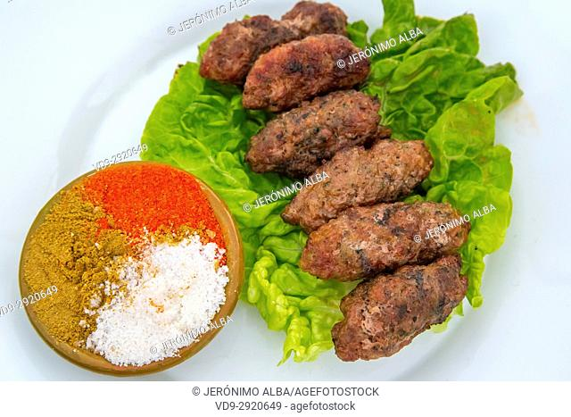 Typical Moroccan food, Kofta kebabs. Souk Medina of Fez, Fes el Bali. Morocco, Maghreb North Africa