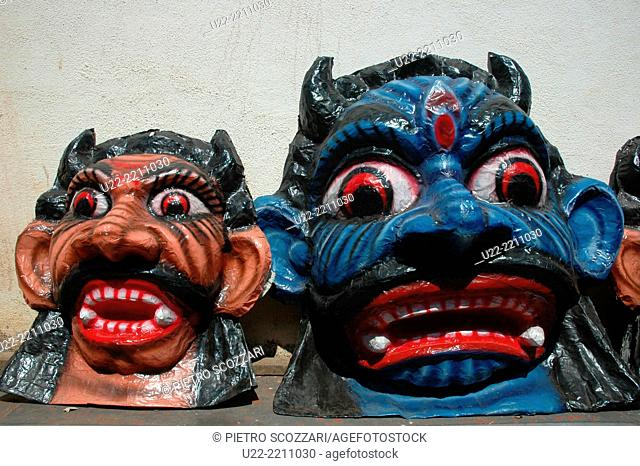 Panjim, Goa, India: papier-maché monsters to be burnt during the night of the Diwali Festival