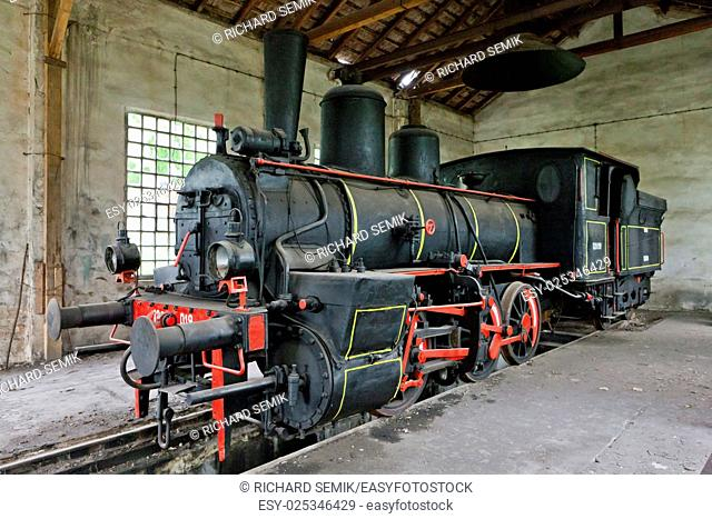 steam locomotive in depot, Resavica, Serbia