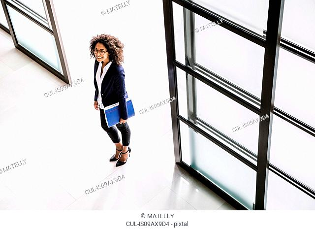 High angle view of businesswoman arriving in office entrance