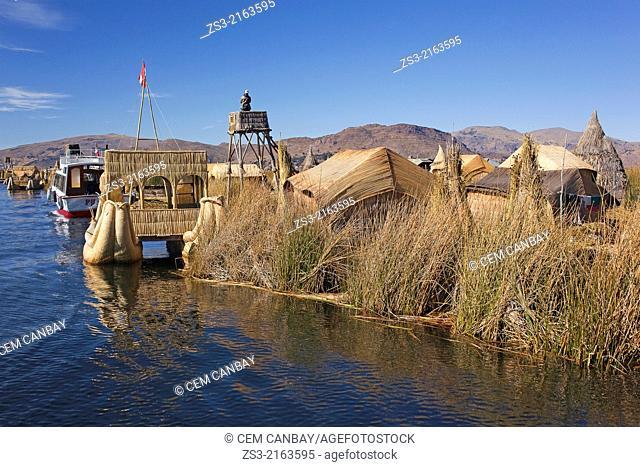Totora reed boats at the Uros Islands, Lake Titicaca, Puno Province, Peru, South America