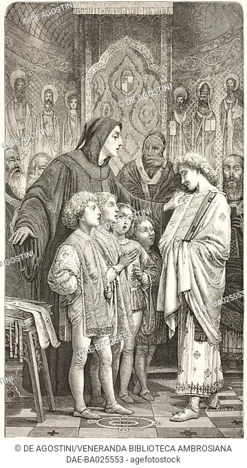 Monk Guido d'Arezzo in front of Pope John XIX, painting by Giuseppe Bertini (1825-1898), engraving from L'Illustrazione Italiana, Year 6, No 2, January 12, 1879