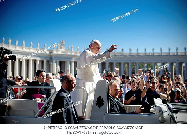 Pope Francis during the General audience, St. Peter square, Vatican, Rome, ITALY-17-05-2017   Journalistic use only