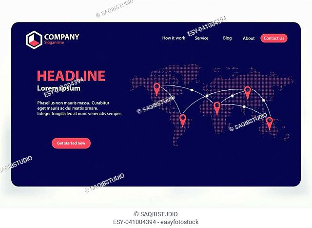 Landing Page World Communication Network Theme Vector Template Design