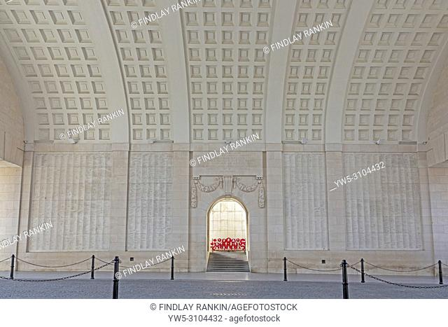 Names and details of some of the war dead who were never recovered written on the inner walls of the Menin Gate, Ypres, Belgium