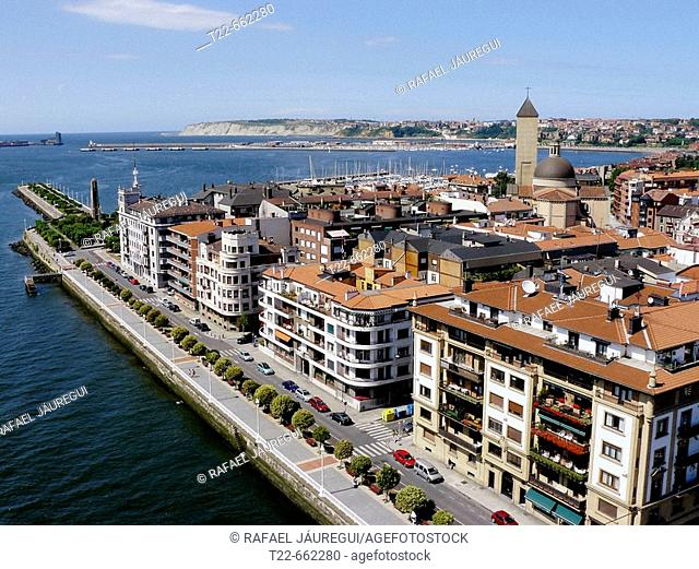 View of Getxo (Bilbao estuary) from Bizkaia suspension bridge. Portugalete-Getxo. Bizkaia. Euskadi. Spain