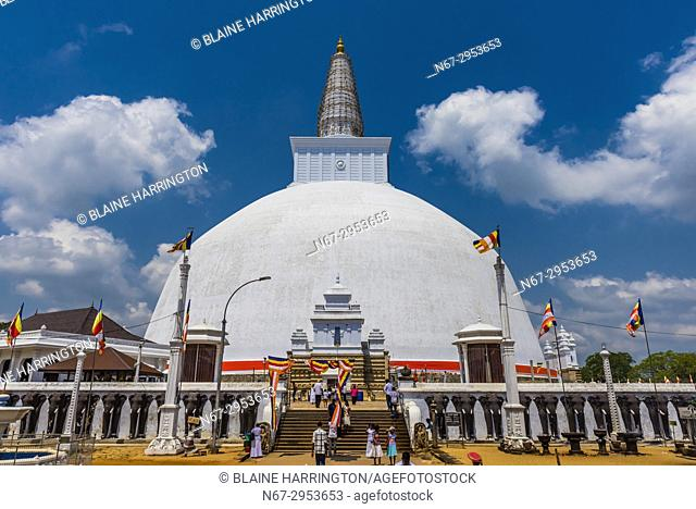 Ruwanwelisaya Dagoba (Stupa) in the ancient city of Anuradhapura, Sri Lanka. Also known as the Ruwanweli Maha Seya, or Great Stupa is a sacred place of...