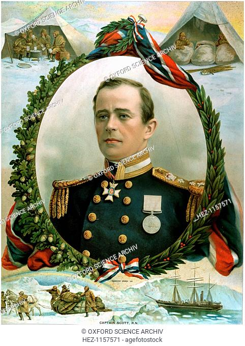 Robert Falcon Scott (1868-1912), British Antarctic explorer, 1914. Portrait surrounded by vignettes of his fatal expedition to South Pole