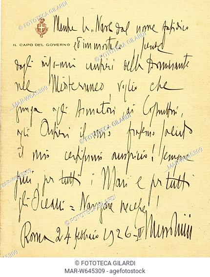Benito MUSSOLINI (1883-1945) Il messaggio autografo, scritto da Benito Mussolini Capo del Governo, per il varo del transatlantico 'Roma' recato a Genova da...