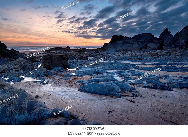 Beautiful dusk at Sandymouth Beach on the north Cornwall coast near Bude