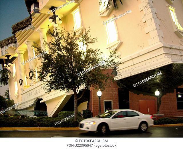 Orlando, FL, Florida, Wonder Works, upside-down buildings, evening