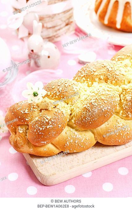 Loaf of sweet bread. Festive dessert