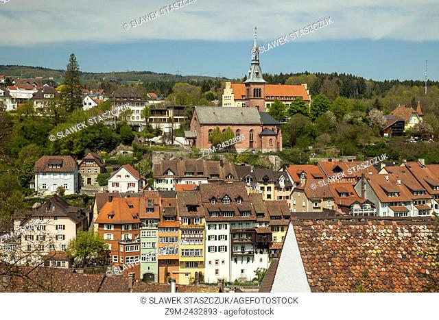 Spring afternoon in the historic town of Laufenburg on Rhine, canton of Aargau, Switzerland. View on German side