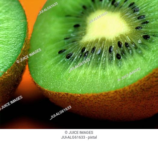 Close-up of kiwi fruit sliced in half