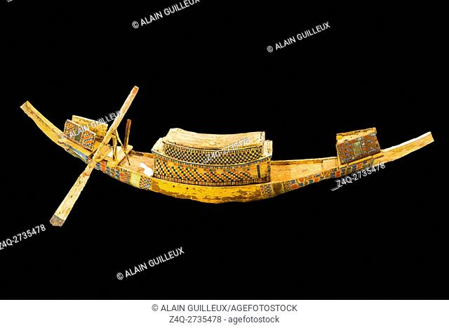 Egypt, Giza, the Conservation Center of the Grand Egyptian Museum. A barque under restoration. It belongs to the treasure of Tutankhamun