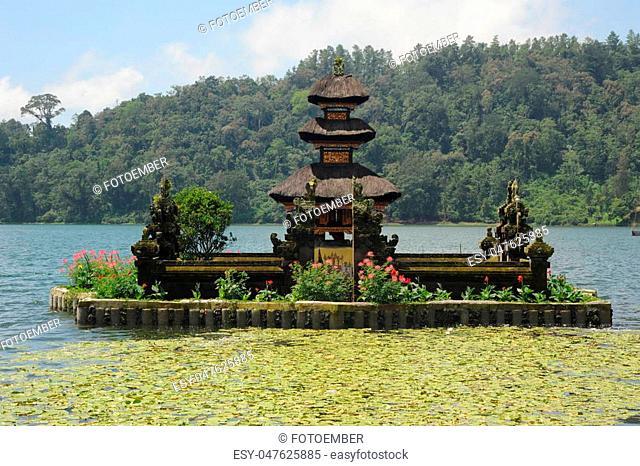 Pura Ulun Danu Bratan famous temple on the lake at Bedugul on Bali, Indonesia