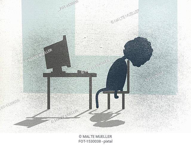 Illustration of businesswoman sleeping on chair in front of desk at office