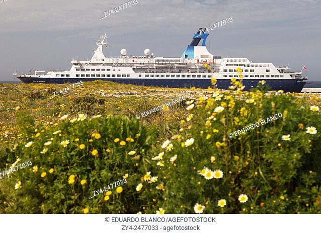 Ferry and flowers. Ciutadella. Minorca. Balearics islands. Spain. Europe