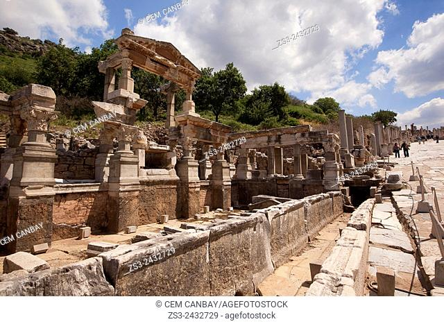 Baths of Scholastica on the Street of Curete at the Roman ruins of Ephesus, Efes, Selcuk, Kusadasi, Turkey, Europe